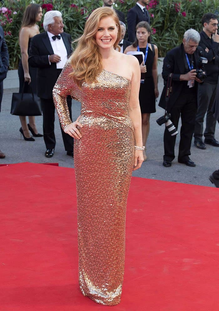 Amy Adams dazzled in a gold-embellished Tom Ford gown