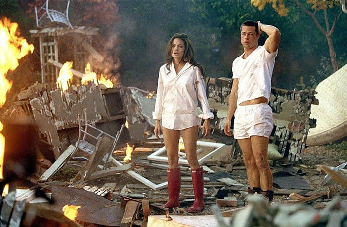 """Angelina Jolie and Brad Pitt together in their 2005 movie, """"Mr & Mrs. Smith"""""""