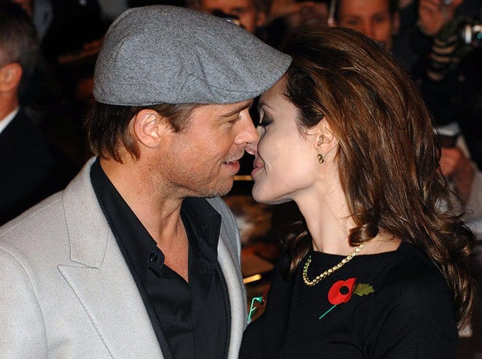 """Brad Pitt and Angelina Jolie at the UK premiere of """"Beowulf"""" held at the Vue Leicester Square in London, England, on November 11, 2007"""