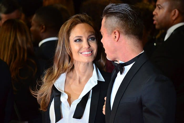 Angelina Jolie and Brad Pitt at the 2014 EE British Academy Film Awards (BAFTA) held at the Royal Opera House in London, England, on February 16, 2014