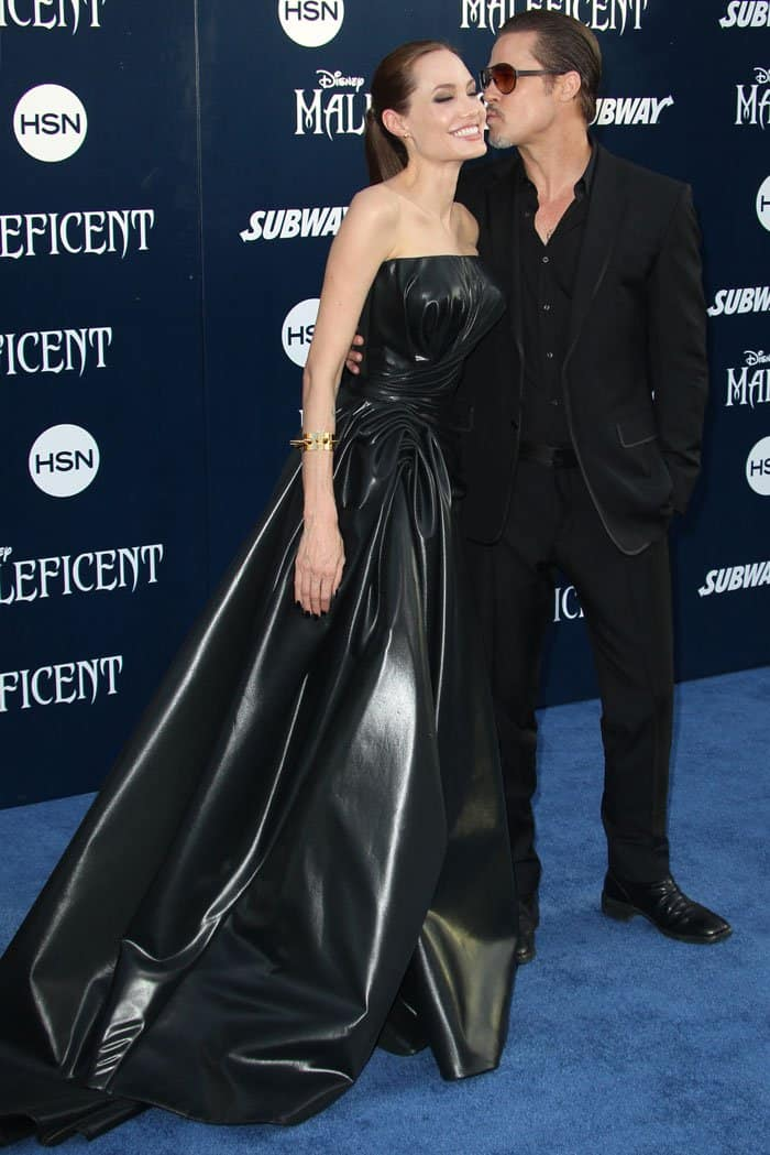 """In her element in a black Versace leather gown and Saint Laurent """"Janis"""" mary-jane pumps"""