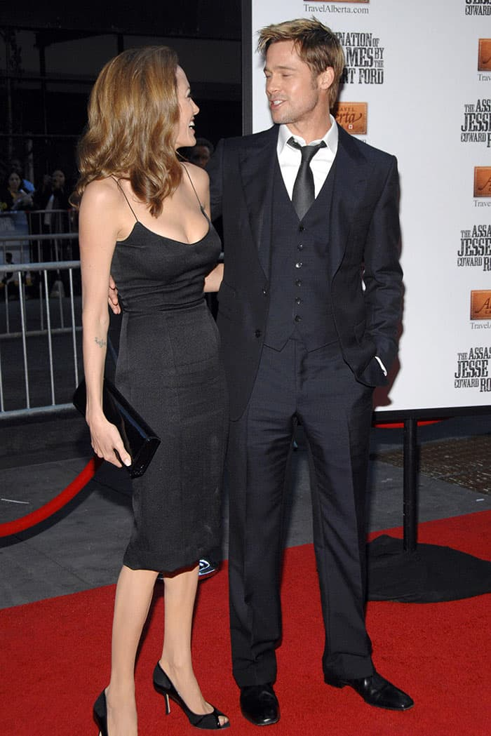 """Angelina Jolie and Brad Pitt at the premiere of """"The Assassination of Jesse James by the Coward Robert Ford"""" at the Ziegfeld Theatre in New York City on September 18, 2007"""