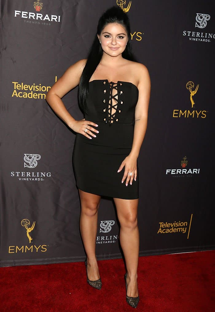 Ariel Winter flaunts her sexy legs in a tiny black dress