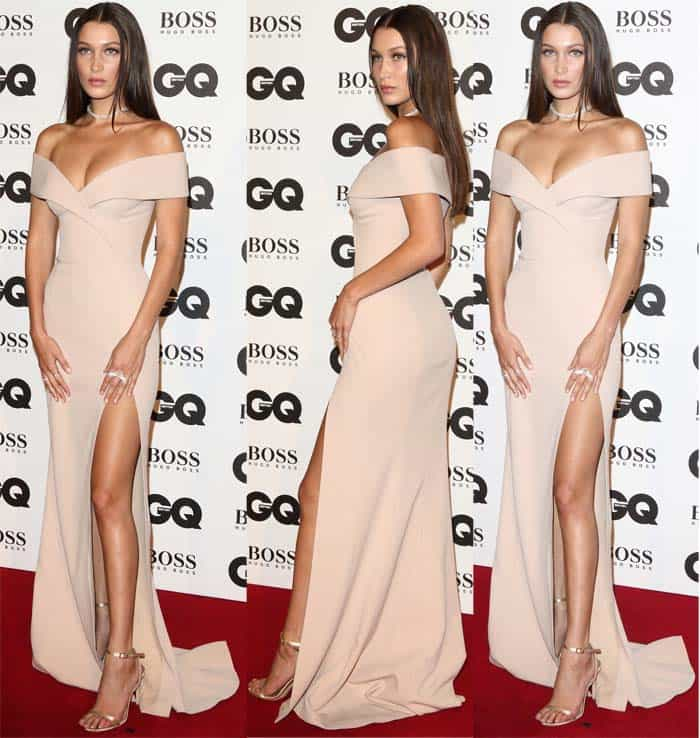 "Bella Hadid accepts GQ's ""Model of the Year"" Award in metallic, gold sandals on September 6, 2016, at Tate Modern in London"