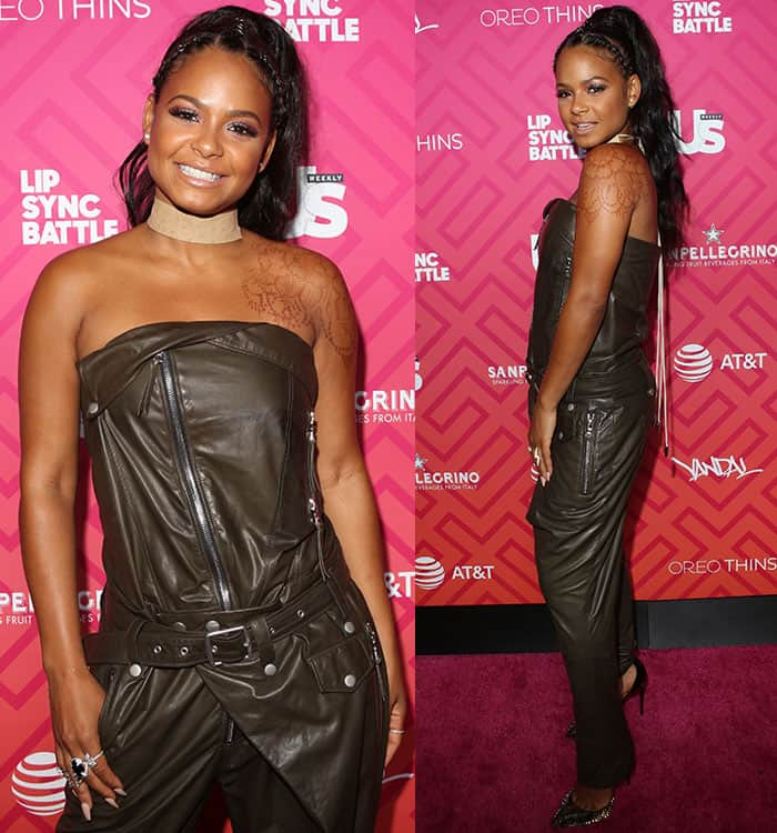 christina-milian-unravel-strapless-leather-jumpsuit