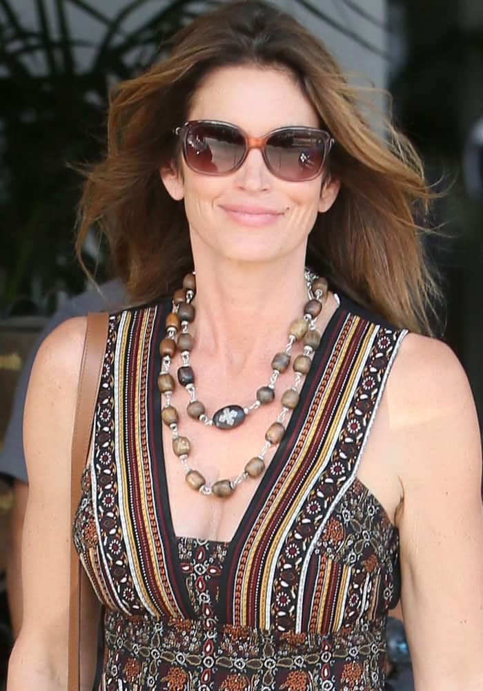 Cindy Crawford at Revlon's philanthropic luncheon at Chateau Marmont in Los Angeles on September 27, 2016