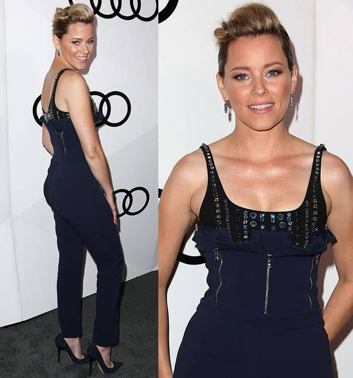 Elizabeth Banks flaunts her boobs at Audi's celebration of the 68th Emmy Awards at Catch