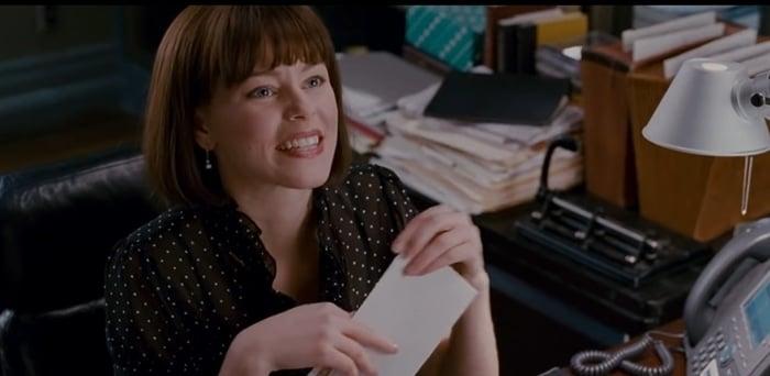Elizabeth Banks as secretary Betty Brant in Sam Raimi's Spider-Man trilogy