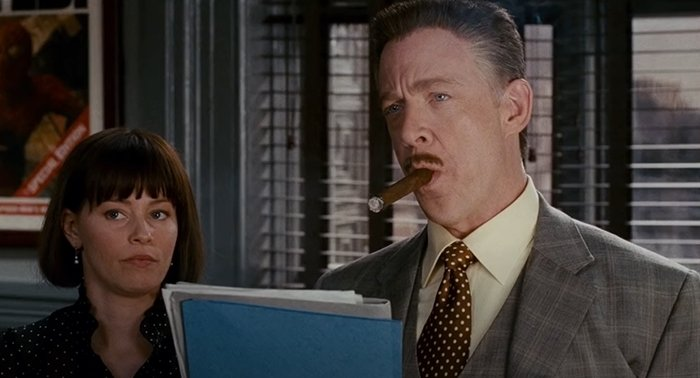 Elizabeth Banks as secretary Betty Brant and J. K. Simmons as J. Jonah Jameson in Spider-Man