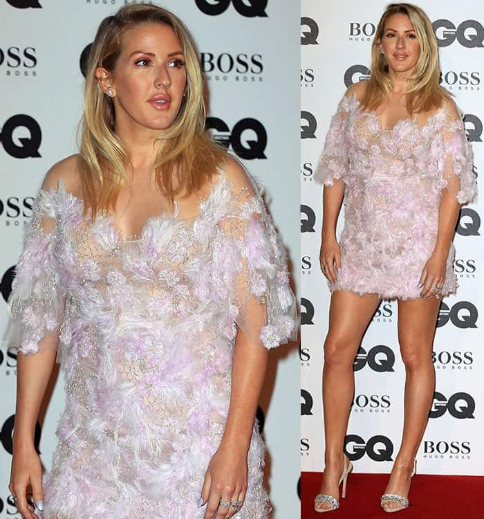Ellie Goulding in a lilac floral dress from Marchesa