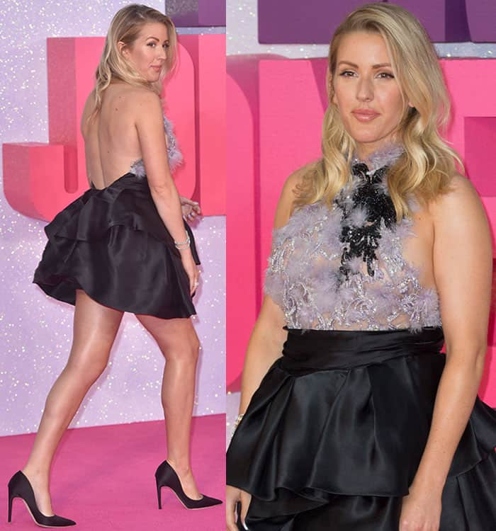 ellie-goulding-marchesa-see-through-backless-feather-mini-dress