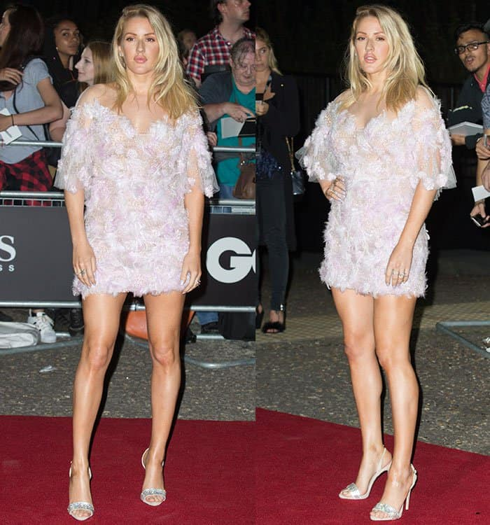 Ellie Goulding in a Marchesa feather dress