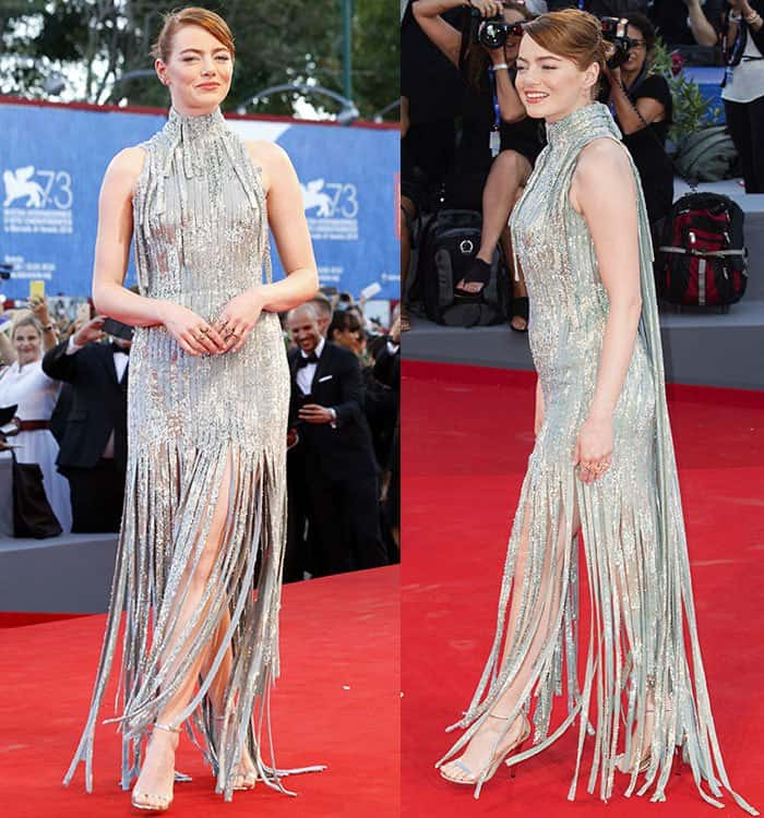 Emma-Stone-Versace-silver-fringe-dress