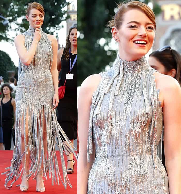 Emma-Stone-Versace-silver-glittery-fringe-dress