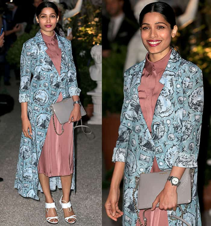 freida-pinto-blush-pink-dress-printed-coat
