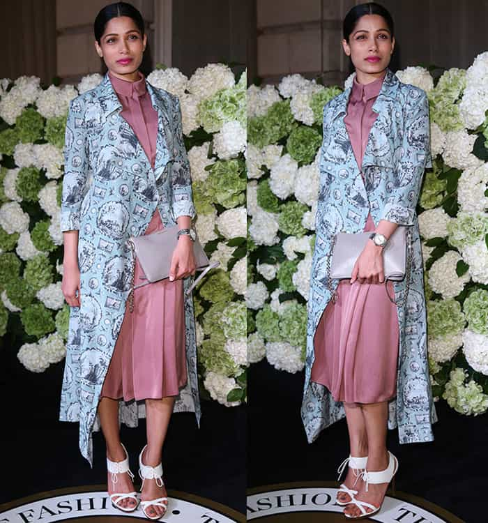 freida-pinto-pink-maxi-dress-printed-coat-white-heels