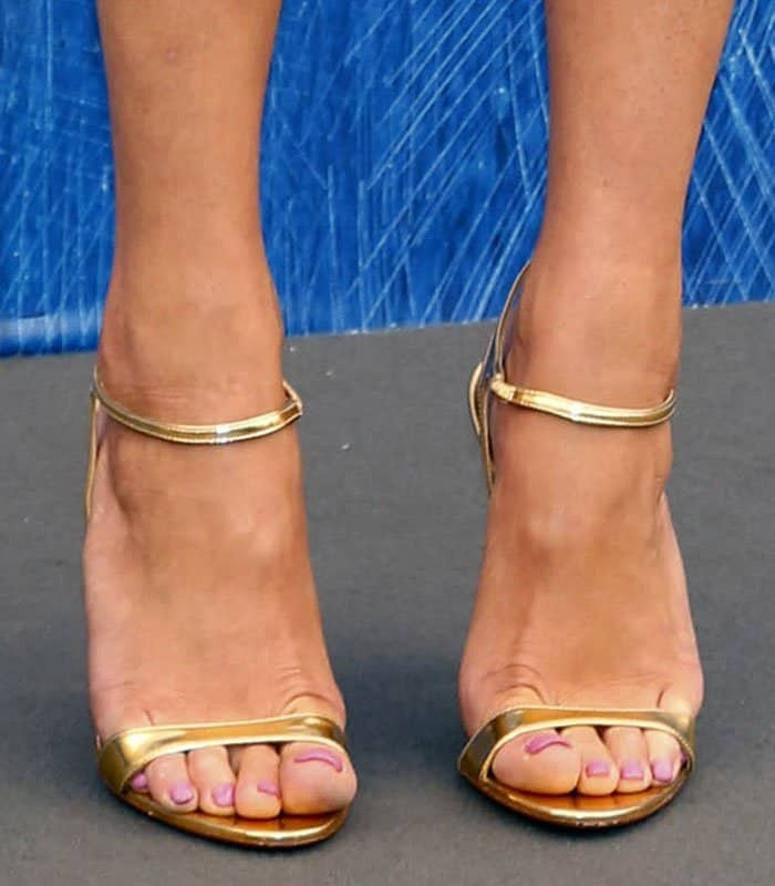 Gemma-Arterton-Metallic-Gold-Prada-Sandals