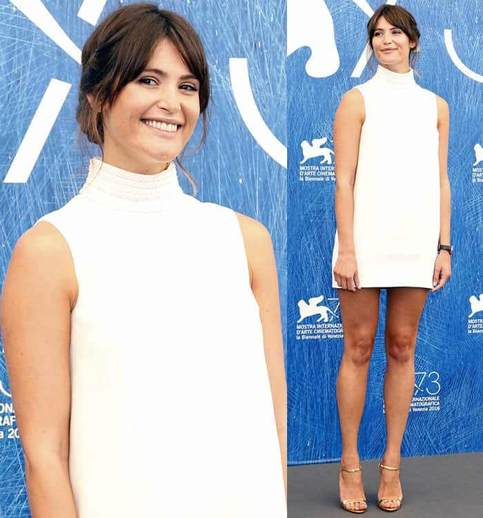 Gemma-Arterton-Ralph-&-Russo-little-white-dress-braided-neck