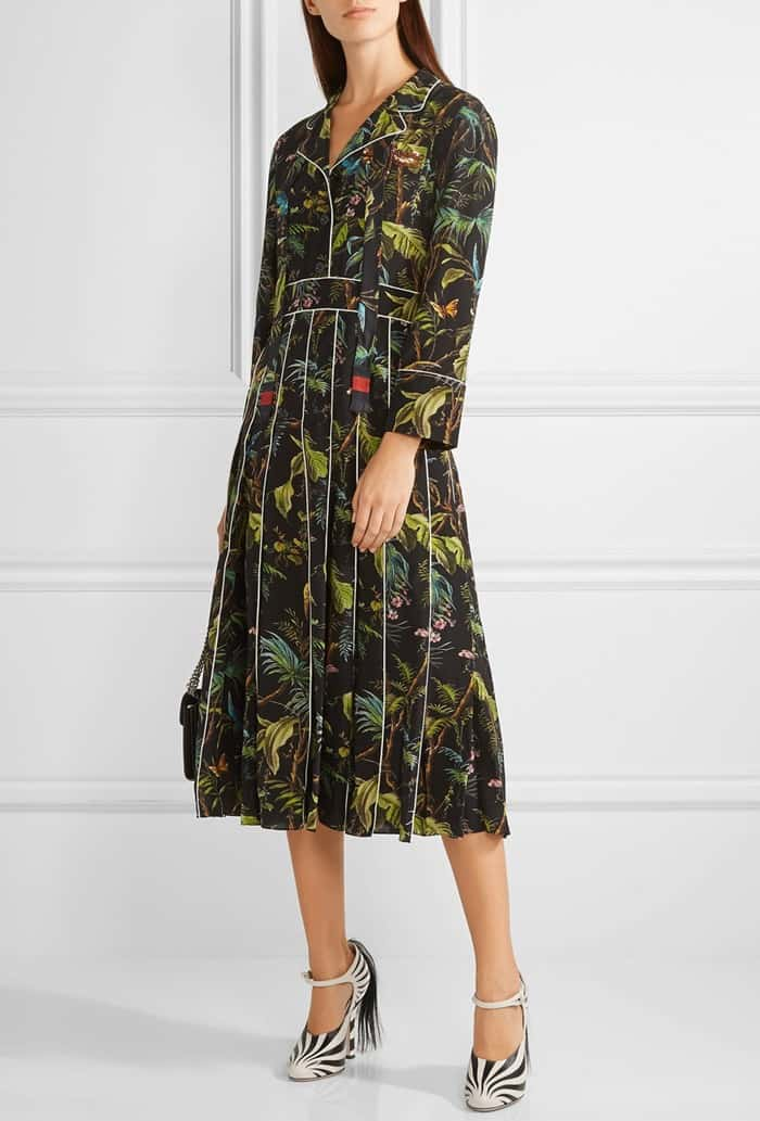 Gucci Embellished Printed Silk Crepe de Chine Midi Dress