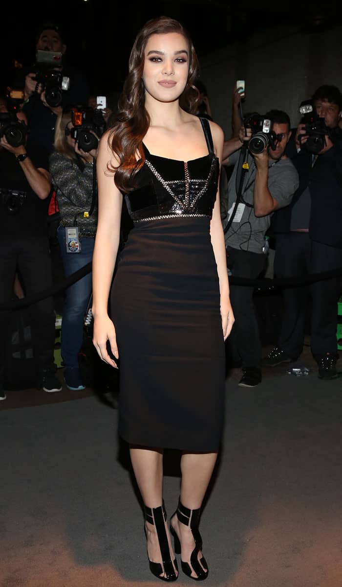 Hailee Steinfeld actress arrived at Four Seasons restaurant in a figure-hugging black dress by Tom Ford