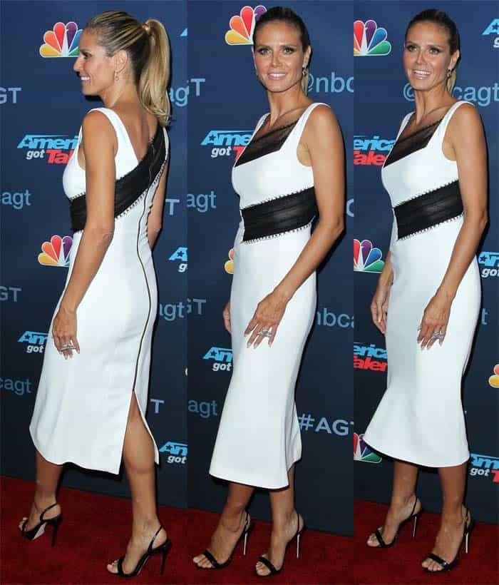 "Heidi Klum walks the red carpet of the ""America's Got Talent"" semi-finals event in Giuseppe Zanotti ""Sophie"" slingback sandals"