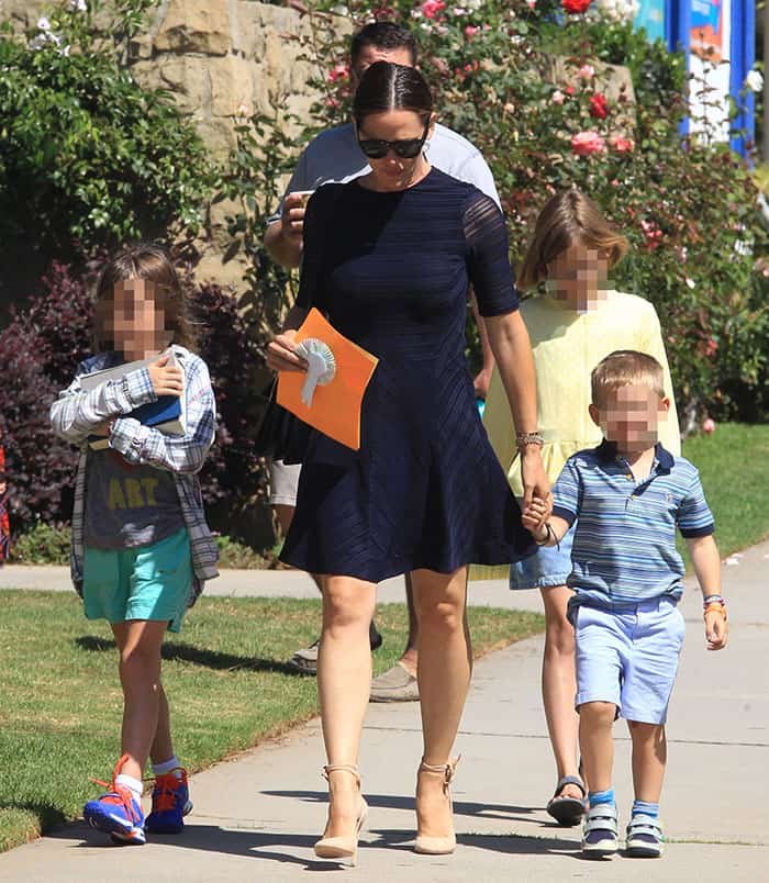 Jennifer Garner taking her three children, Violet, Seraphina and Samuel, to church in Brentwood