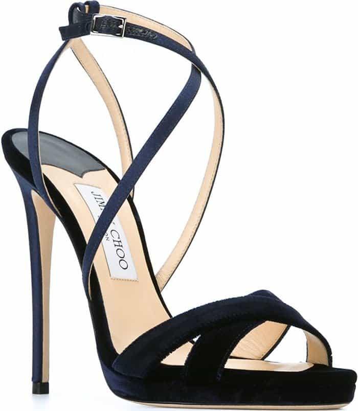 Jimmy-Choo-Lola-Navy-Velvet-Satin-sandals