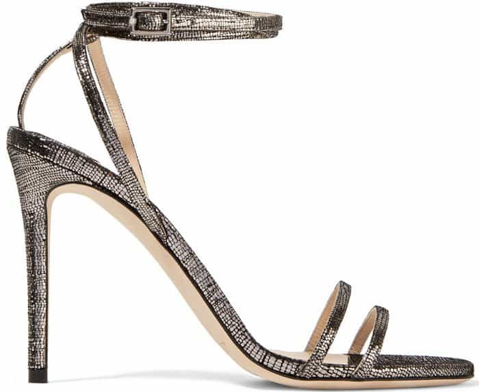 Expertly made in Italy from metallic pixelated leather, this pair is set on a thin stiletto heel and has an elegant wrap-around ankle-strap