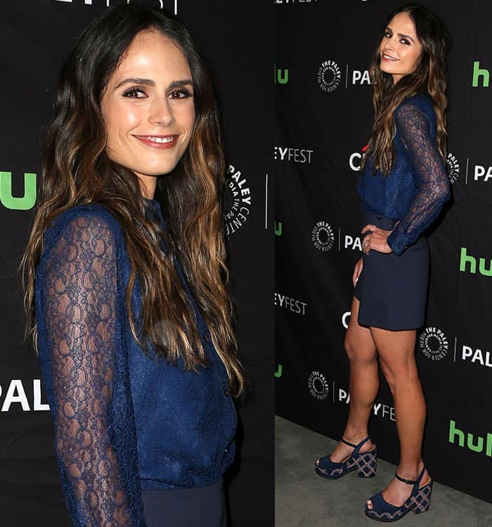 jordana-brewster-button-down-shirt-lace-sleeves-shorts
