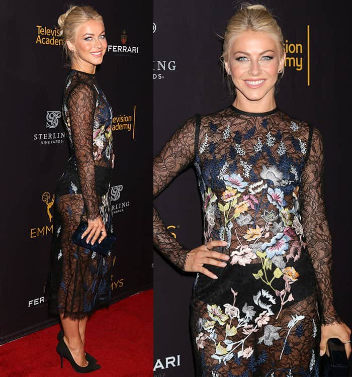 julianne-hough-yigal-azrouel-sheer-lace-embroidered-dress