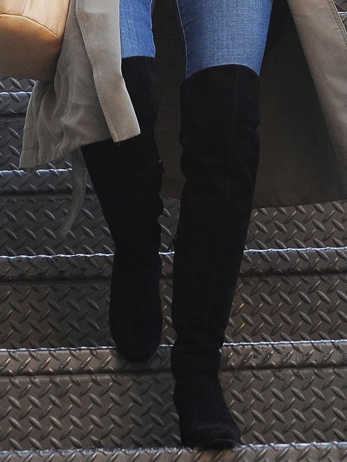 Julianne Hough Visits Salon In Black Knee High Boots
