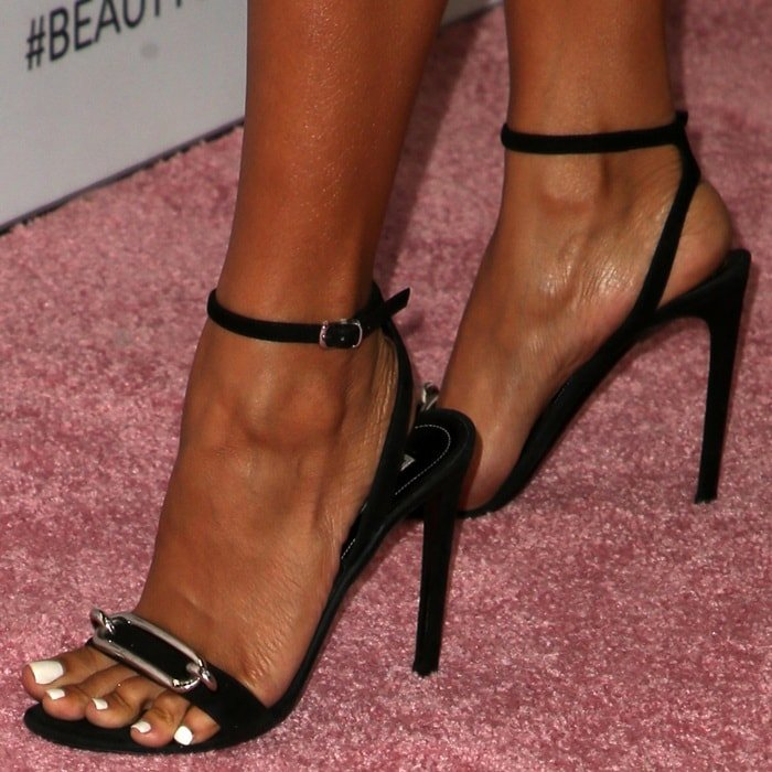 Karrueche Tran's hot feet in Balenciaga shoes