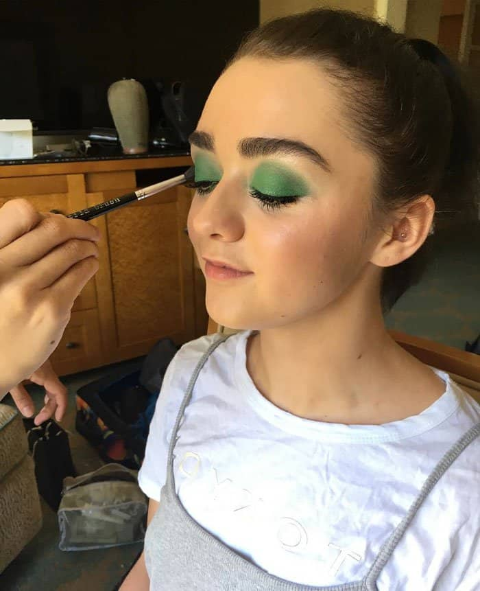 Maisie Williams went on the road less traveled with bold green eyeshadow