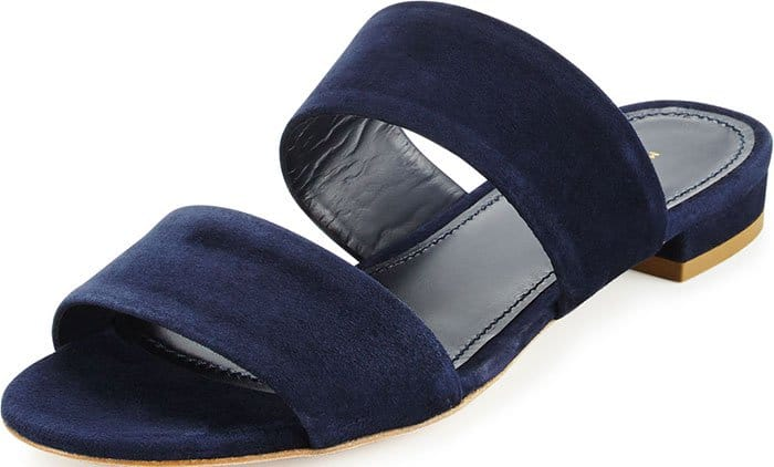 Mansur Gavriel Navy Suede Two-Band Flat Slide Sandals