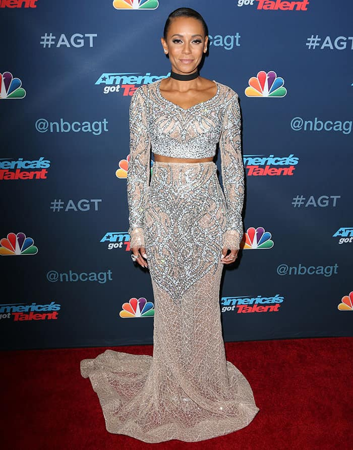 Mel B. Shows Off Abs in Two-Piece Gown and Tom Ford Heels