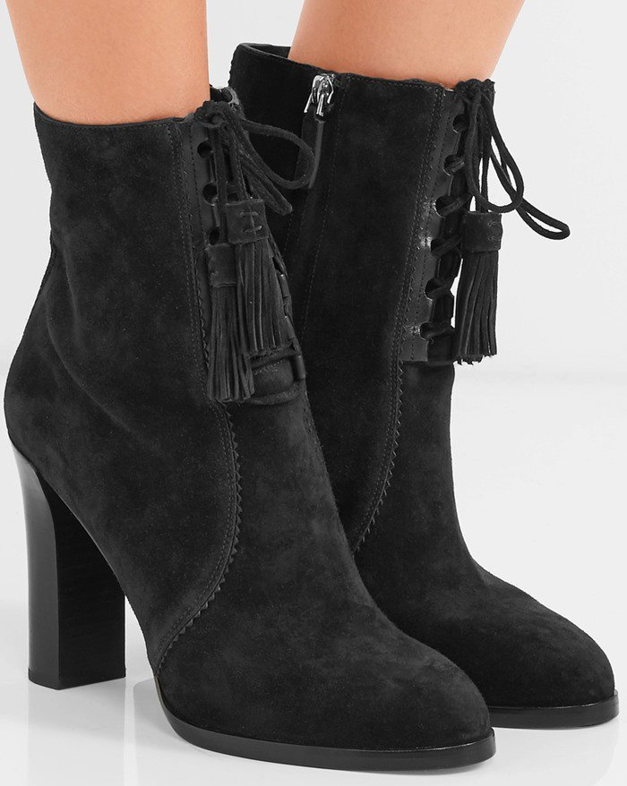 Michael Kors Collection 'Odile' Suede Lace-Up Booties in Black