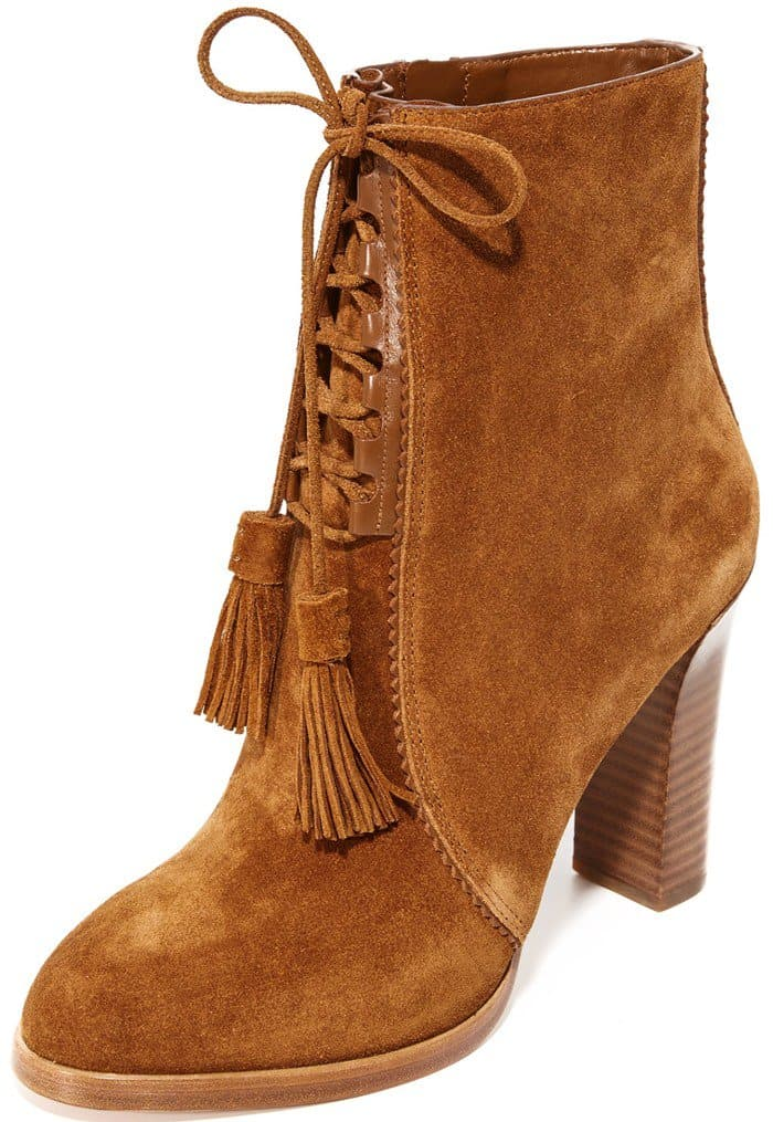 Michael Kors Collection 'Odile' Suede Lace-Up Booties in Luggage