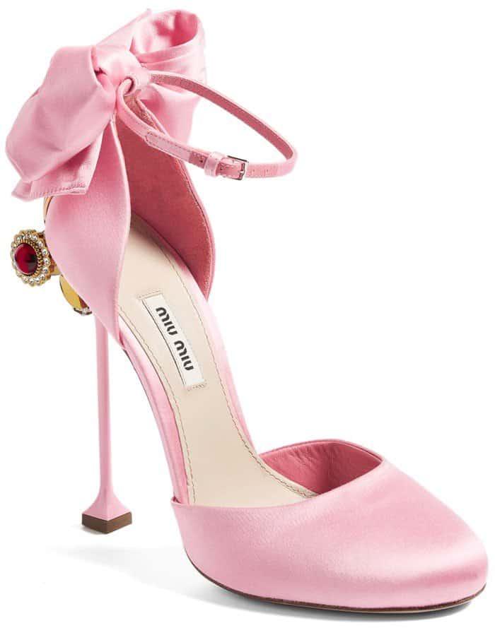 6bcd9854b1b8 Lustrous Baby-Pink Satin Miu Miu Embellished Satin Pumps