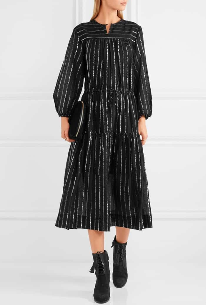 Model wearing black suede Michael Kors Collection 'Odile' leather-trimmed boots with a 'Savory' metallic-trimmed cotton-gauze dress from Étoile Isabel Marant