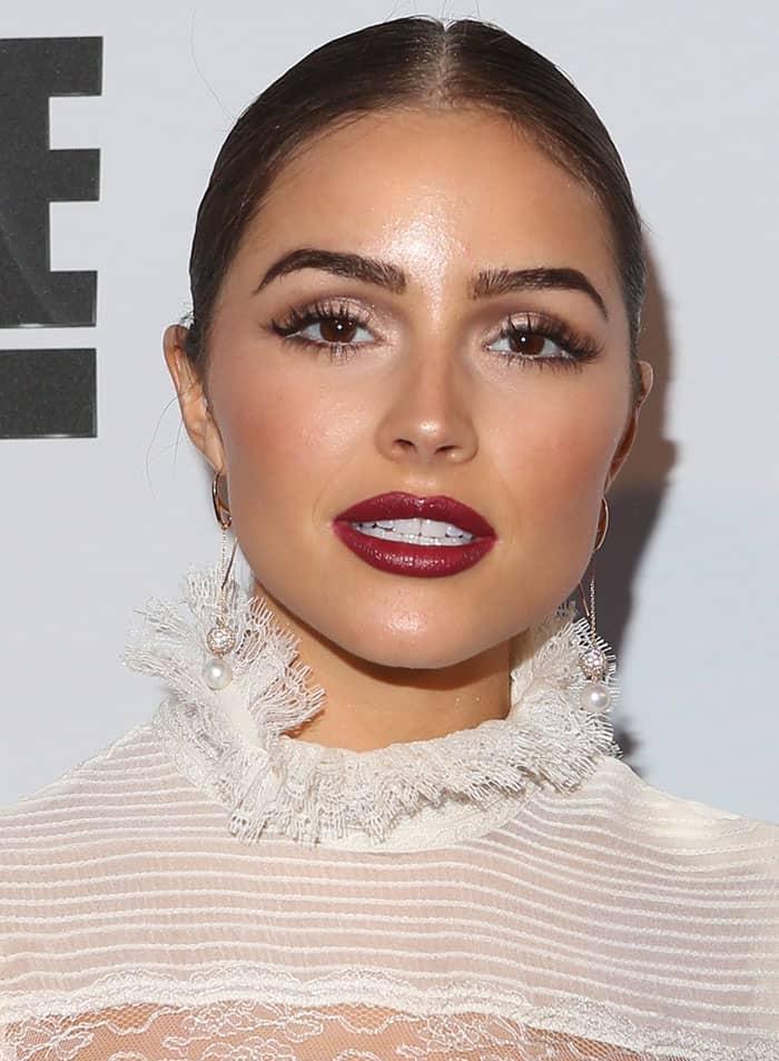 olivia-culpo-neat-bun-red-lipstick