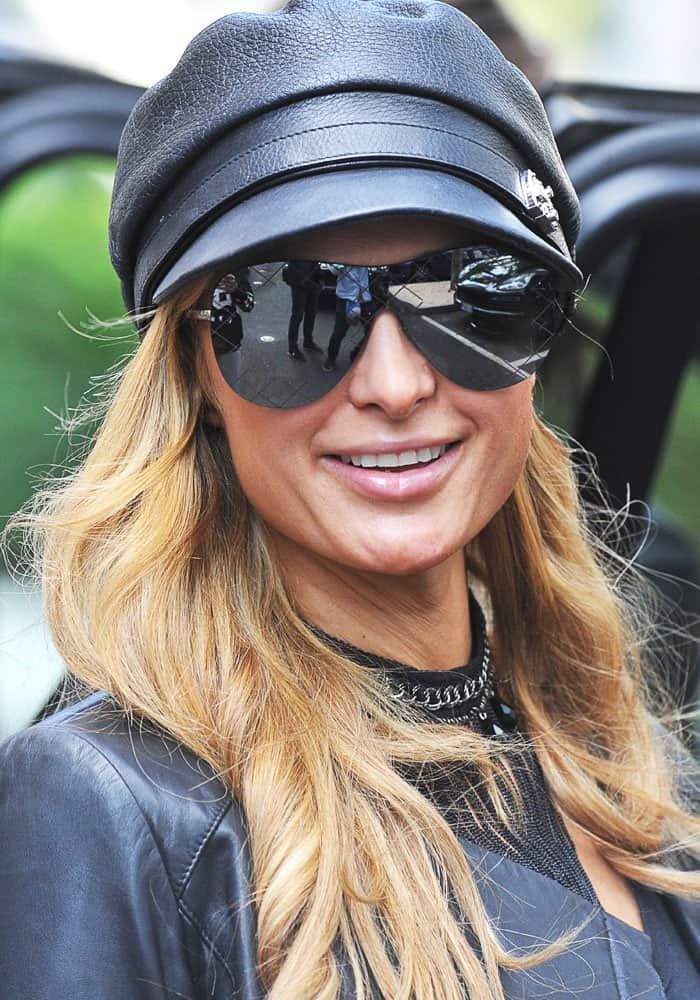 Paris Hilton spotted at the Milan Fashion Week Spring/Summer 2017 in Italy on September 21, 2016