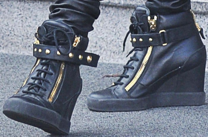 "Paris shops around Milan in the Giuseppe Zanotti ""Lorenz"" wedge sneakers"