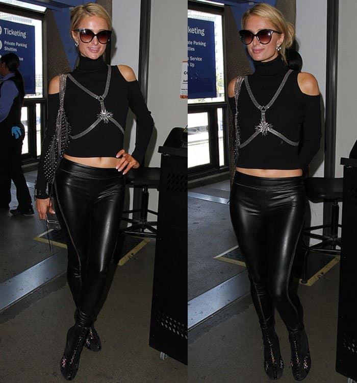 paris-hilton-airport-look-crop-top-leather-pants