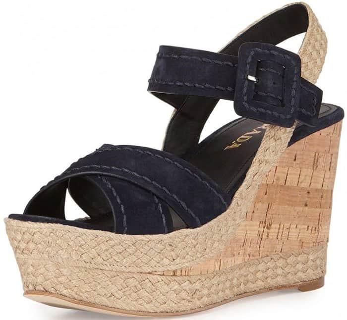Prada Suede Wedge Sandals Cork
