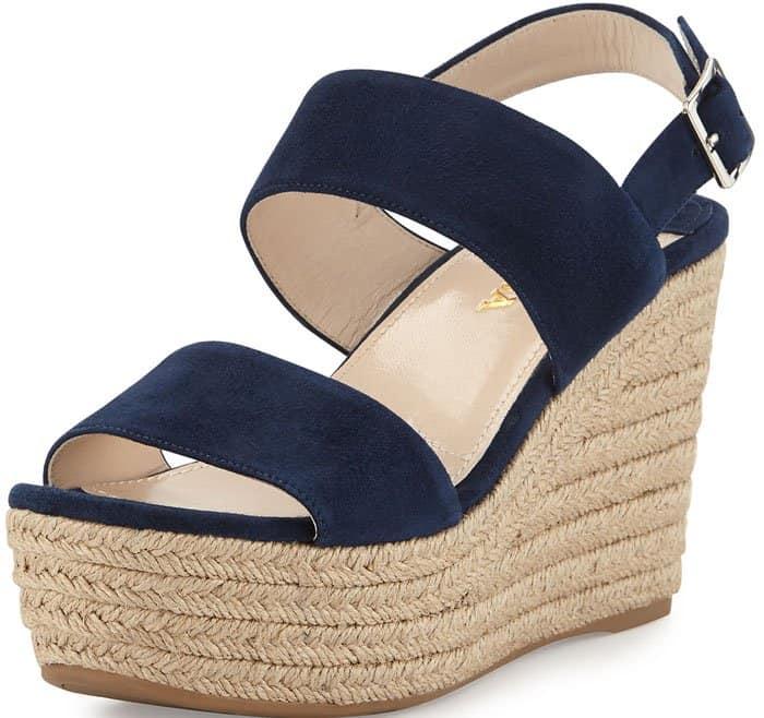 Prada Suede Wedge Sandals Espadrille 1