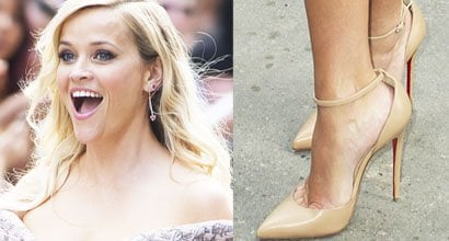 60088ab0f5ba Reese Witherspoon Becomes Mother of 25 in Christian Louboutin  Uptown  Pumps