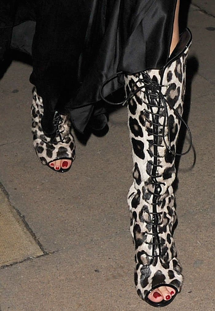 Rita Ora Parties In Lace Up Knee High Leopard Print Boots