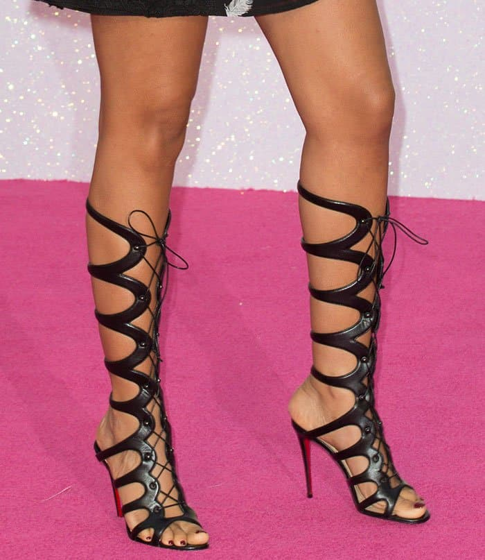 be83e65b5fe Rochelle Humes in Christian Louboutin 'Amazoula' Gladiator Sandals