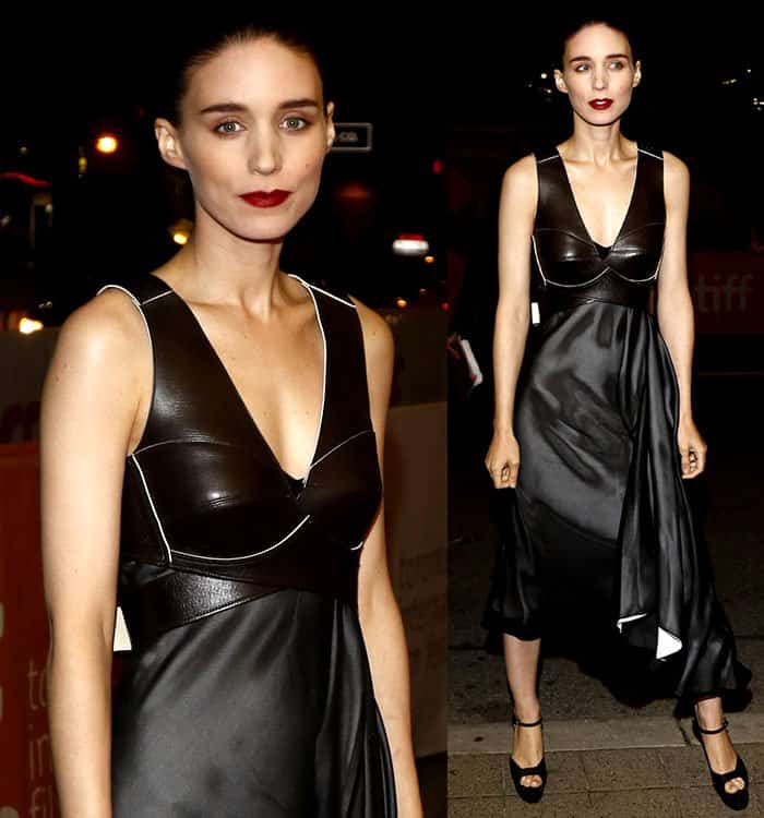 rooney-mara-louis-vuitton-dress-v-neck-leather-bodice