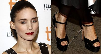 58d3180f26f3 Rooney Mara Vampy in Louis Vuitton Dress and Brian Atwood  Aida  Sandals